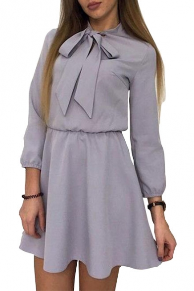 Tie Sleeve Bow Elastic Plain Collared A Dress Waist Line Mini Long dqrwrt