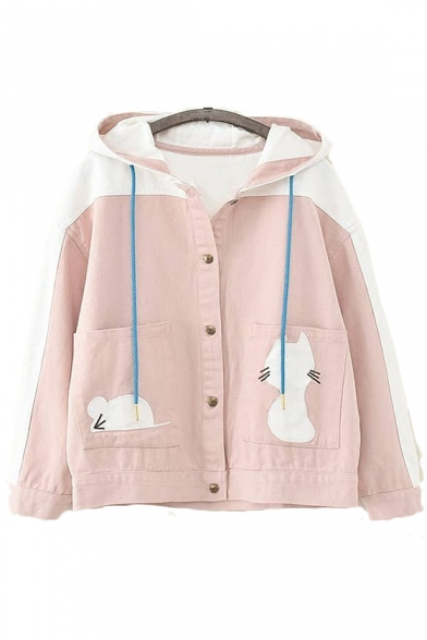 Button Front Color Block Cat Embroidered Long Sleeve Hooded Jacket
