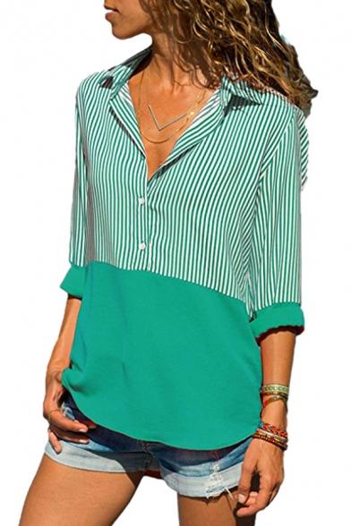 Button Front Lapel Collar Long Sleeve Color Block Contrast Striped Leisure Shirt