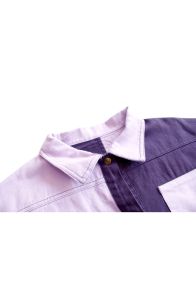 Color Block Button Down Long Sleeve Letter Embroidered Lapel Collar Chic Jacket