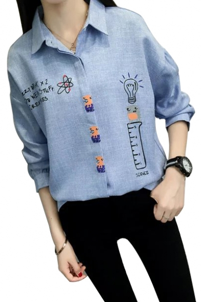 Conceal Button Placket Letter Bulb Printed Lapel Collar Long Sleeve Shirt
