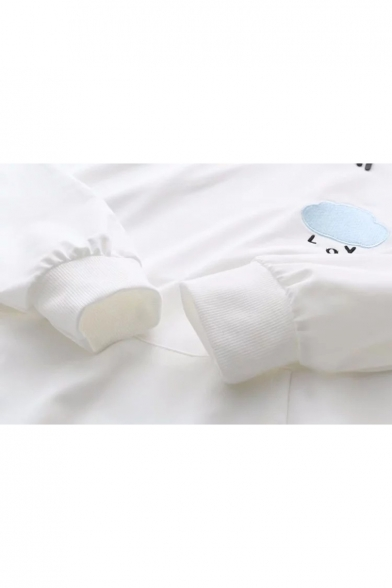 Contrast Sleeve Hoodie LOVE Cloud Hood Long Embroidered Letter x6CTxHwqr