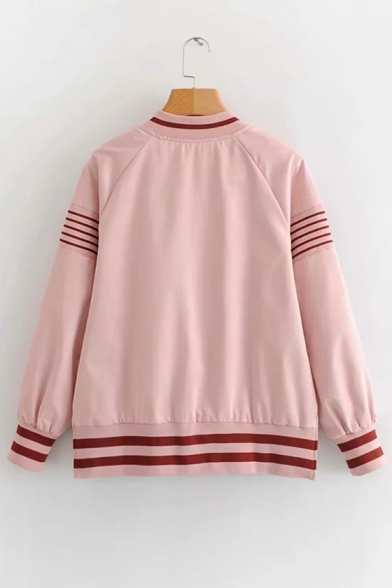 Contrast Striped Printed Stand Up Collar Long Sleeve Zip Front Baseball Jacket