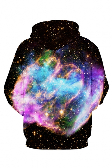 Sleeve Hoodie Digital Casual Galaxy Long Couple for Printed qwXtwZ