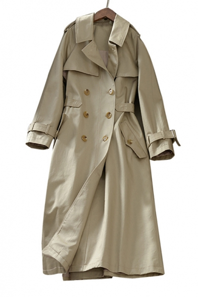 Double Breasted Plain Notched Lapel Collar Long Sleeve Plain Tunic Trench Coat