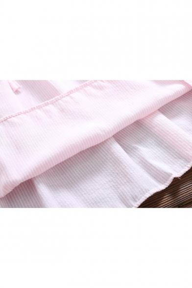 Dress Midi Waist Collar Front Striped A Lapel Printed Button Drawstring Line 0vg4xZwq