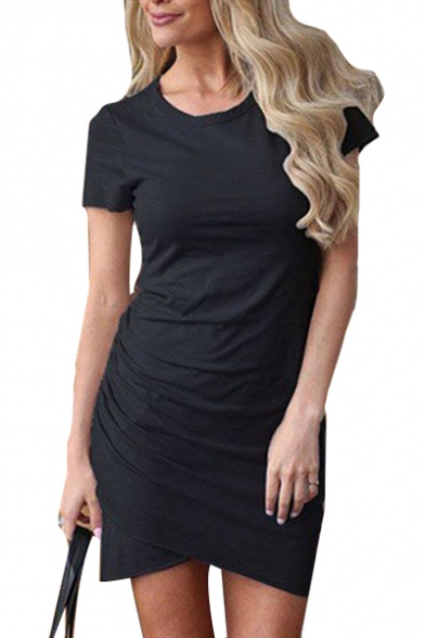 Round Neck Short Sleeve Plain Asymmetric Hem Mini Pencil Dress