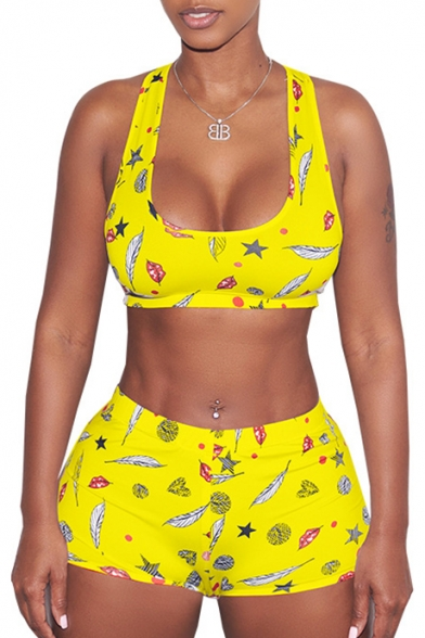 Round Neck Sleeveless Cartoon Printed Crop Tank with Skinny Shorts Sports Co-ords