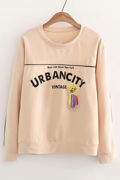Long Pendant Star Neck Letter Embellished Sweatshirt Sleeve URBAN Round CITY 0ZFwwqO