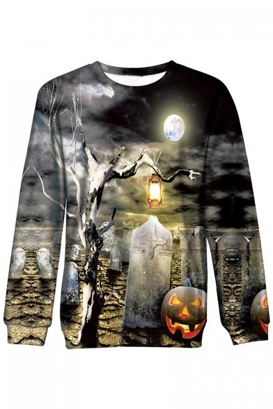 3D Halloween Tomb Printed Long Sleeve Round Neck Sweatshirt