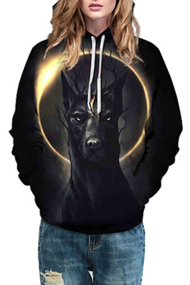 Oversized Hoodie Eclipse Sleeve Solar Printed 3D Animal Long 0wAP8xzq