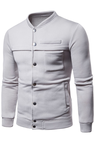 Button Front Stand Up Collar Long Sleeve Plain Jacket