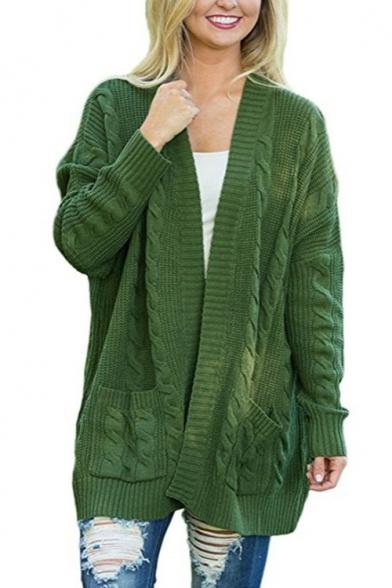 Collarless Plain Long Sleeve Tunic Cable Knitting Cardigan
