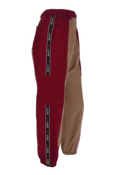 Color Block Letter Printed Rib Knit Trim Elastic Waist Leisure Cargo Pants