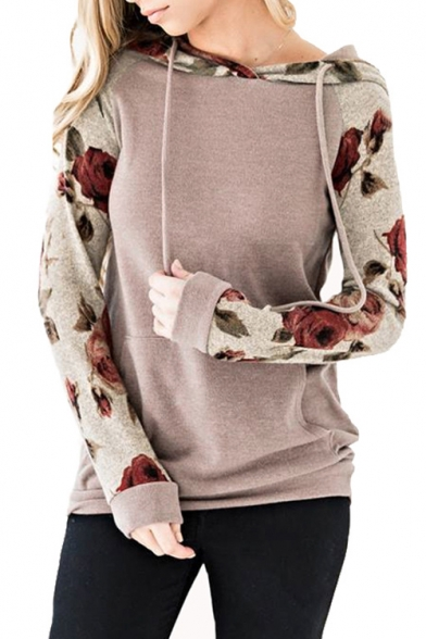 Floral Printed Hoodie Slim Long Contrast Sleeve 87qaZwqx