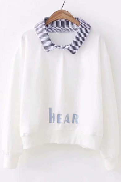 Long Lapel HEAR Striped Embroidered Collar Sleeve Contrast Tee Letter HnfxH