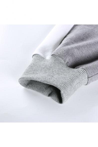Hem Zip Collar Color Drawstring Sleeve Sweatshirt Lapel Block Crop Half Long BSqnId