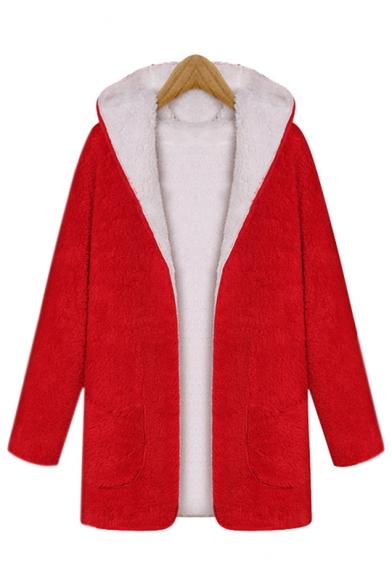 Faux Fur Open Front Long Sleeve Plain Tunic Hooded Coat