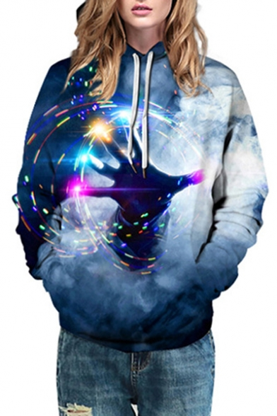 for Printed Couple Oversized Sleeve Hoodie Hand Long XAgxBxa