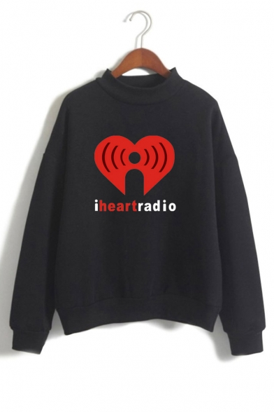 High Letter I Neck RADIO Sweatshirt Long Printed Sleeve HEART Graphic RvpwXS