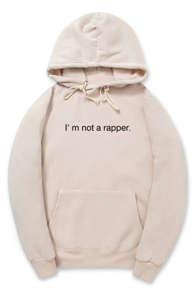 I'M NOT A RAPPER Letter Printed Long Sleeve Hoodie
