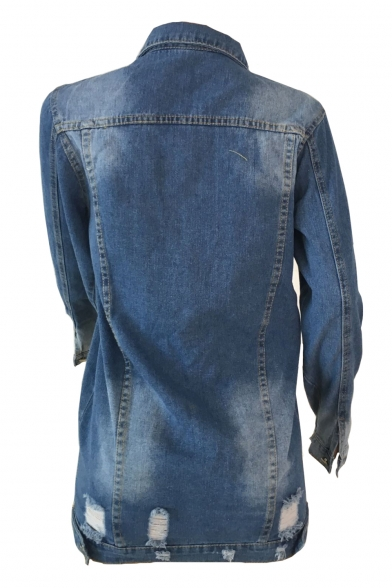 Lapel Collar Long Sleeve Button Front Distressed Detail Denim Jacket