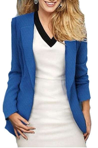Lapel Collar Long Sleeve Slim Tailored Plain Blazer