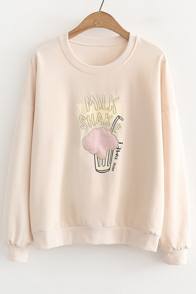 MILK Letter Drink Embroidered Round Neck Long Sleeve Sweatshirt