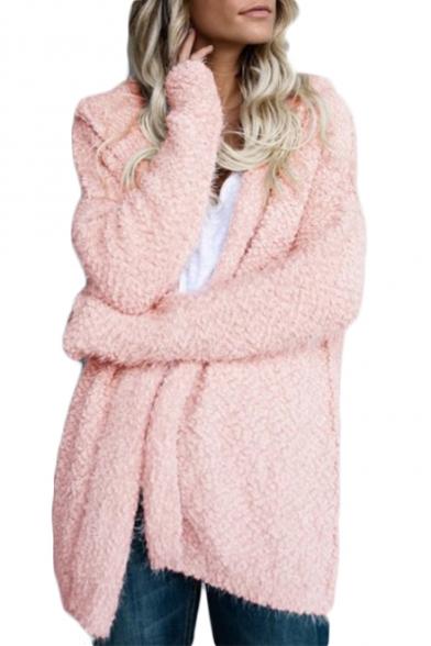New Arrival Plain Faux Fur Long Sleeve Hooded Coat