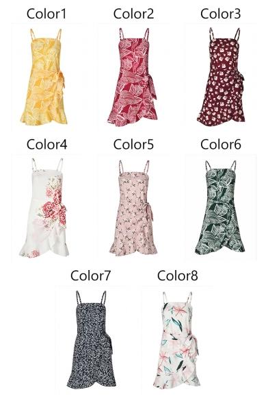 Popular Leaf Printed Spaghetti Straps Sleeveless Tie Waist Mini Asymmetrical Dress