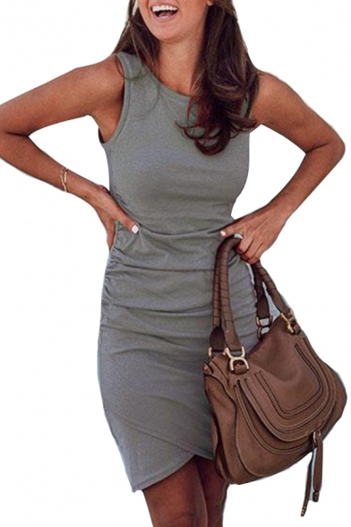Round Plain Neck Sleeveless Dress Mini Asymmetric qYYErw