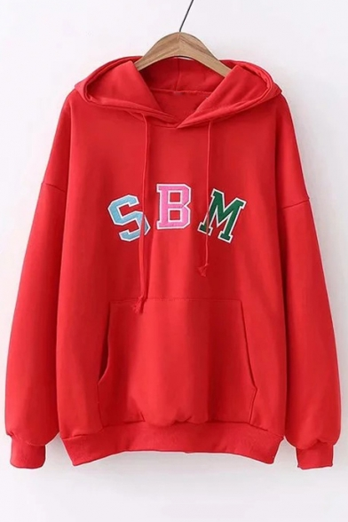 Long Letter Casual SBM Hoodie Sleeve Embroidered AEqCCOwS