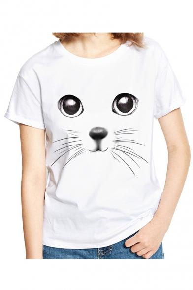 Shirt Short 3D Printed T Cat Round Neck Sleeve 070Fawq