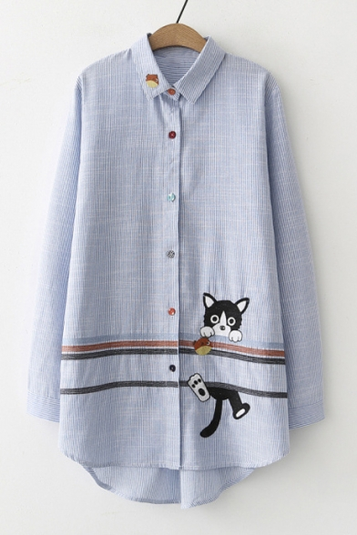 Long Front Shirt Lapel Striped Sleeve Cat Button Contrast Tunic Collar Embroidered 8tXxwvqF
