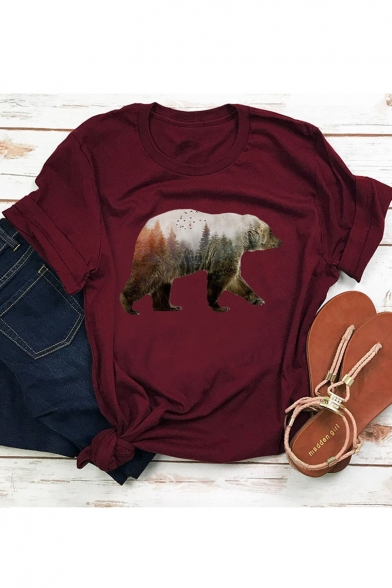 Forest Polar Bear Printed Round Neck Short Sleeve Tee