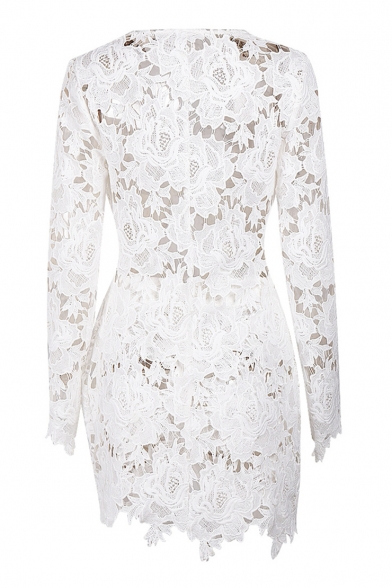 Hollow Out Floral Lace V Neck Long Sleeve Top with Skinny Shorts Co-ords