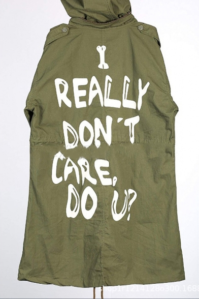 I REALLY DON'T Letter Printed Back Long Sleeve Zip Up Trench Coat with Detachable Hood
