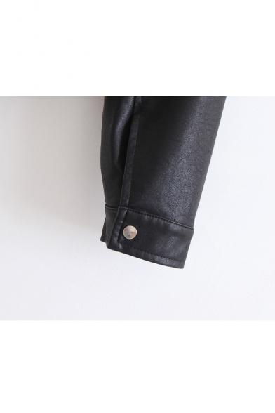 Lapel Collar Long Sleeve Elastic Hem Crop Leather Biker Jacket