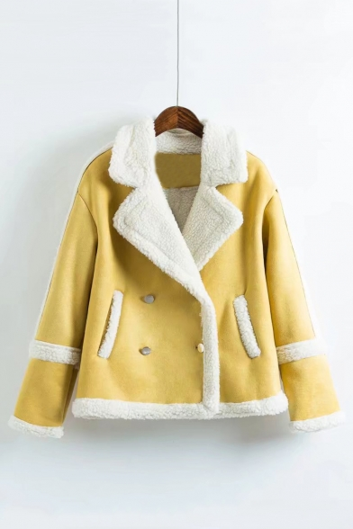 Notched Lapel Collar Long Sleeve Plain Warm Lamb Wool Jacket