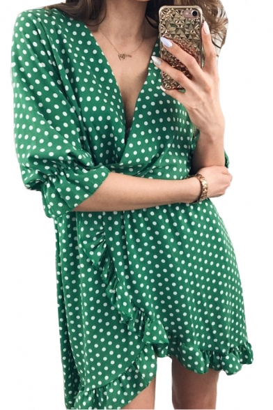 Polka Dot Printed V Neck Half Sleeve Ruffle Detail Mini Asymmetric Dress
