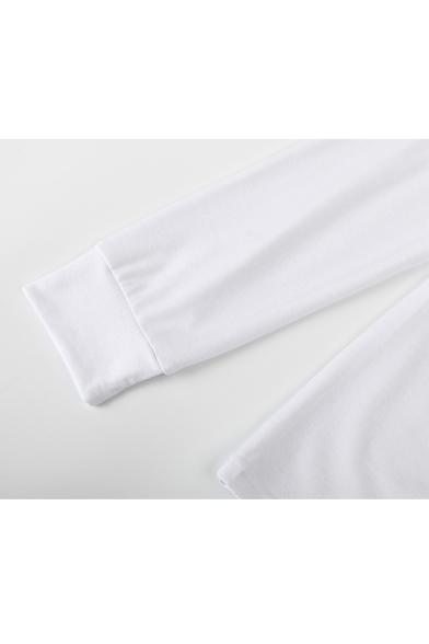 Neck Drawstring Crop Plain Tee Sleeve Long Asymmetric Hem Front Round 1fSwxpnx