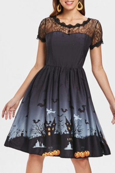 Round Neck Short Sleeve Lace Insert Halloween Series Printed Midi A-Line Dress LC481492 фото