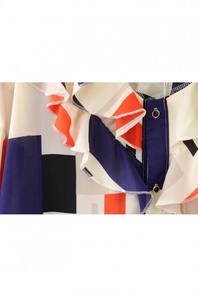 V Down Chiffon Long Button Sleeve Ruffle Printed Detail Neck Blouse Geometric SUxqax1