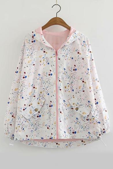 Vintage Floral Printed Long Sleeve Zip Up Hooded Coat