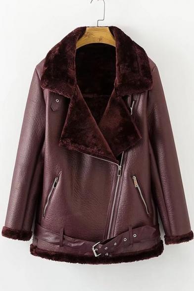 Warm Notched Lapel Collar Long Sleeve Zip Up PU Tunic Coat