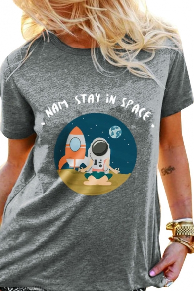 Cartoon Astronaut STAY IN SPACE Letter Printed Round Neck Short Sleeve T-Shirt