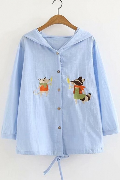 Down Proof Button Coat Hooded Sun Long Embroidered Cartoon Squirrel Sleeve Uw0nqxAwtZ