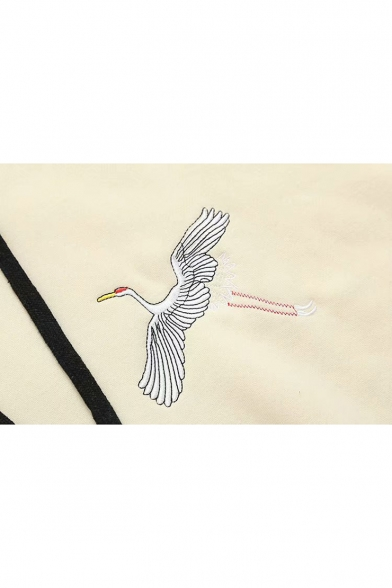 Crane Chic Long Hoodie Embroidered Sleeve Leisure 4HHrdqz