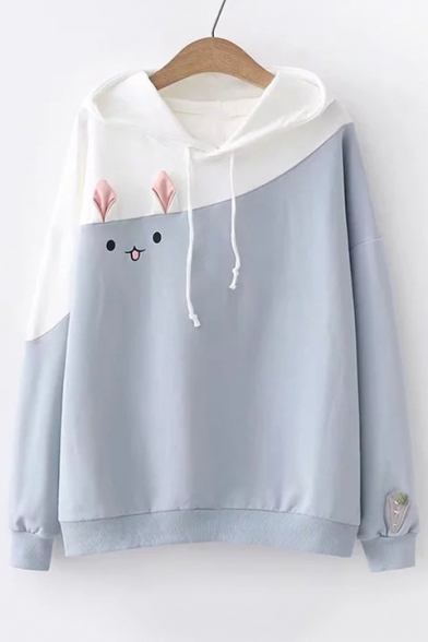 Pattern Color Sleeve Rabbit Long Casual Hoodie Block H8FqBR8I