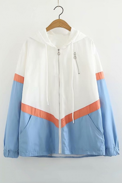 Color Block Zip Up Long Sleeve Hooded Coat